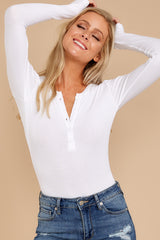 2 A Simple Favor White Long Sleeve Bodysuit at reddress.com