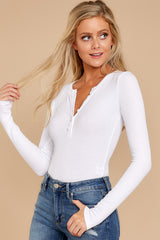 3 A Simple Favor White Long Sleeve Bodysuit at reddress.com