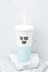 1 To The Top Blue Tumbler With Straw at reddress.com