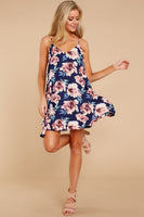Polyester Floral Print Pocketed Dress