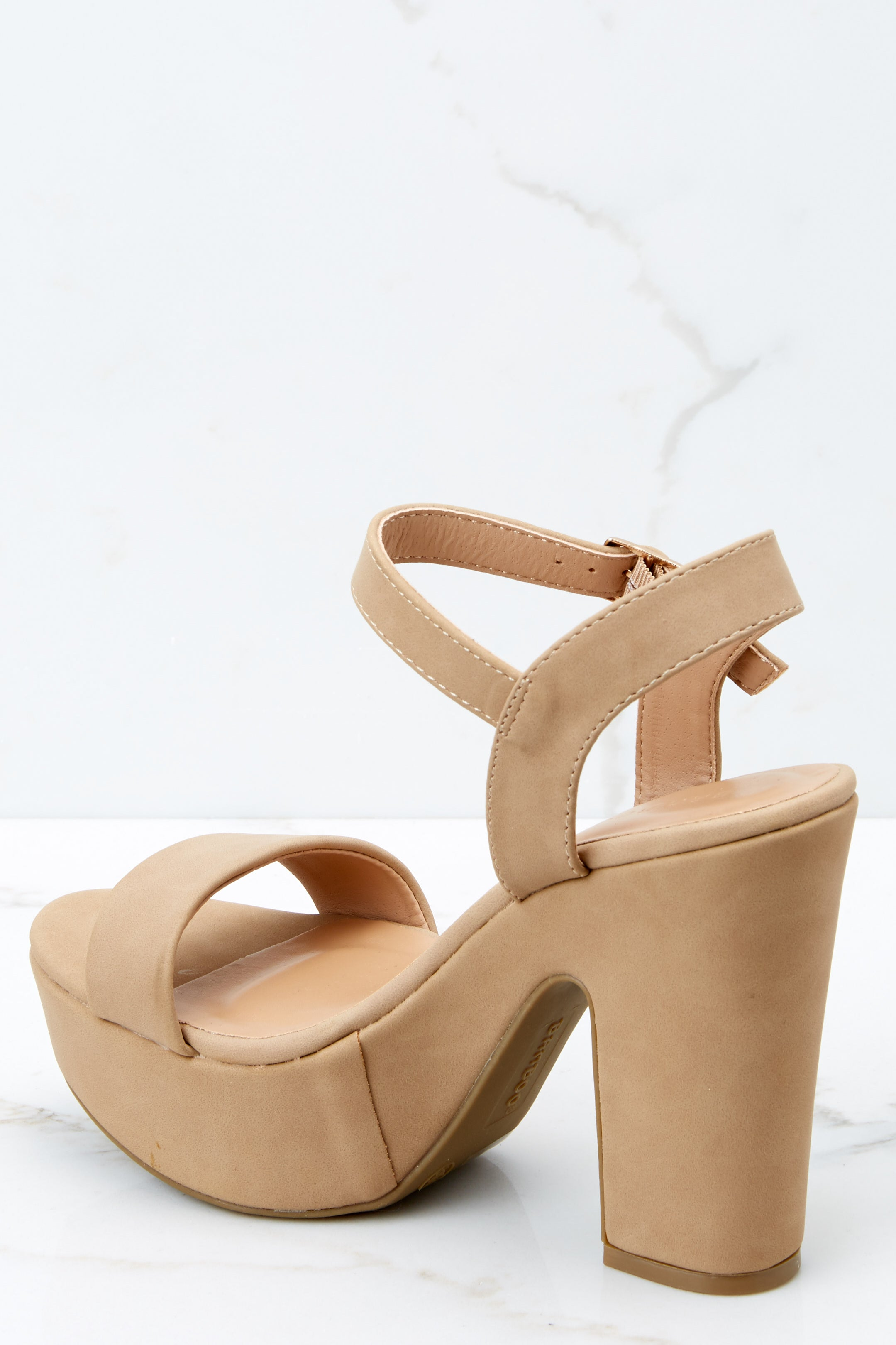 3 Accept The Challenge Nude Ankle Strap Heels at reddressboutique.com