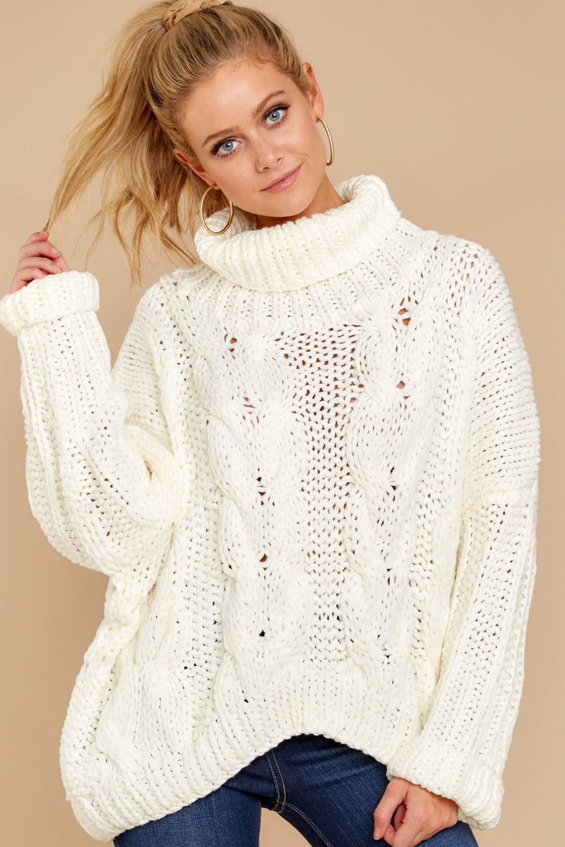 ce217be79 Lovely White Cable Knit Sweater - Trendy Turtleneck - Sweater ...