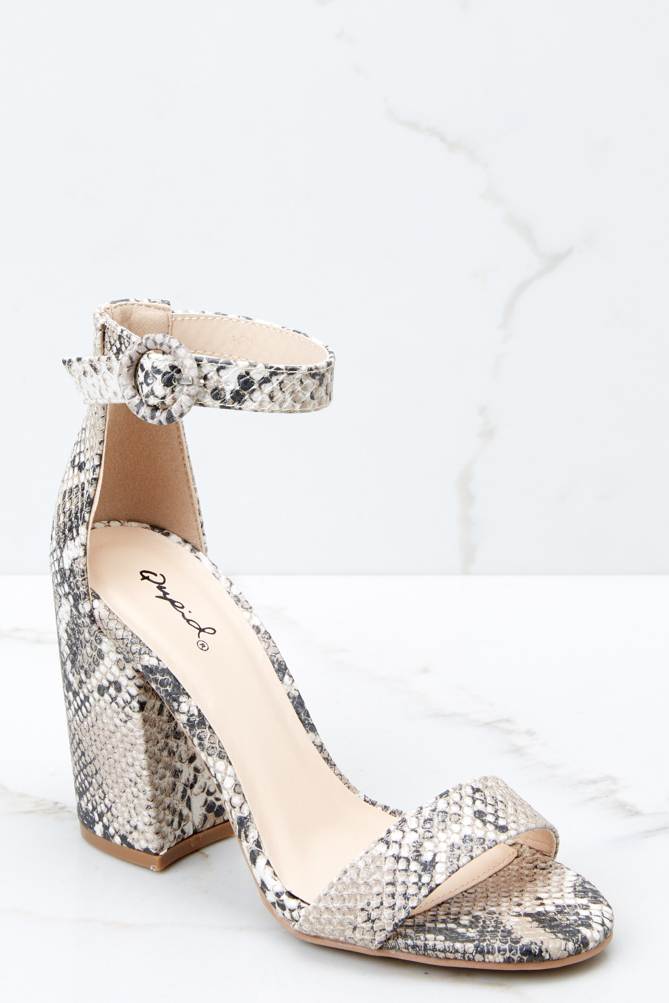 1 Can't Stop Won't Stop Snake Print Ankle Strap Heels at reddressboutique.com