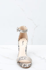 2 Can't Stop Won't Stop Snake Print Ankle Strap Heels at reddressboutique.com