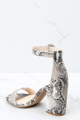 3 Can't Stop Won't Stop Snake Print Ankle Strap Heels at reddressboutique.com