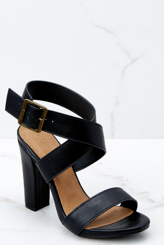 1 Longest Strut Black Peep Toe Heels at reddressboutique.com