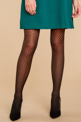 1 Honeycomb Fishnet Mid-Thigh Shaping Tights In Very Black at reddress.com