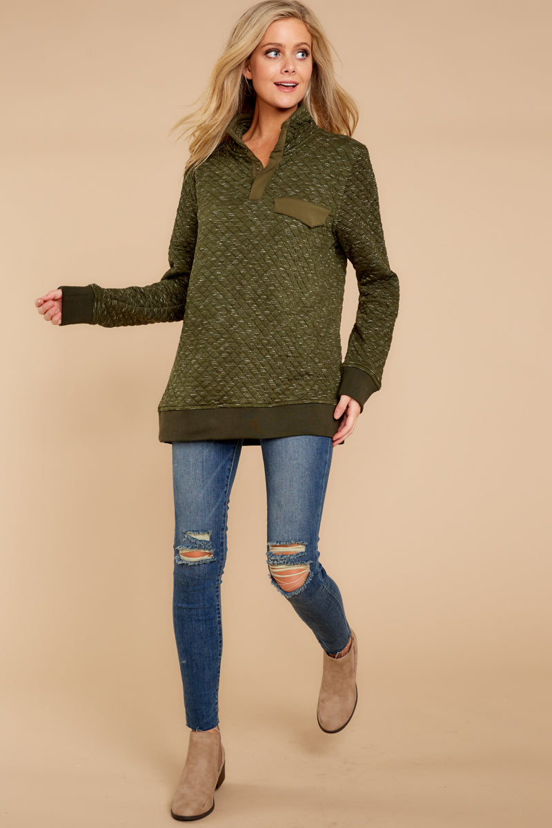 2 Looking For Comfort Olive Pullover at reddressboutique.com