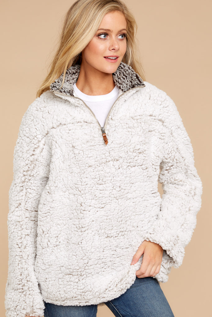 Stay Chill White Fuzzy Jacket