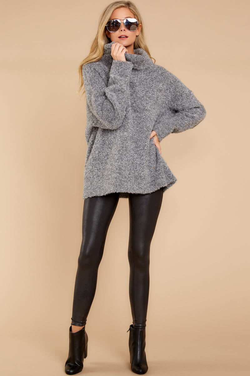 4 Warming Up To The Idea Grey Turtleneck Sweater at reddressboutique.com