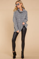 3 Warming Up To The Idea Grey Turtleneck Sweater at reddressboutique.com