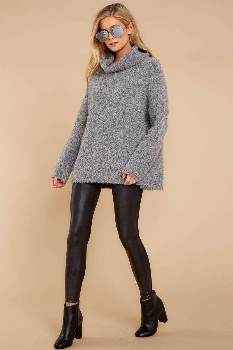 1 Warming Up To The Idea Grey Turtleneck Sweater at reddressboutique.com