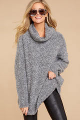 6 Warming Up To The Idea Grey Turtleneck Sweater at reddressboutique.com