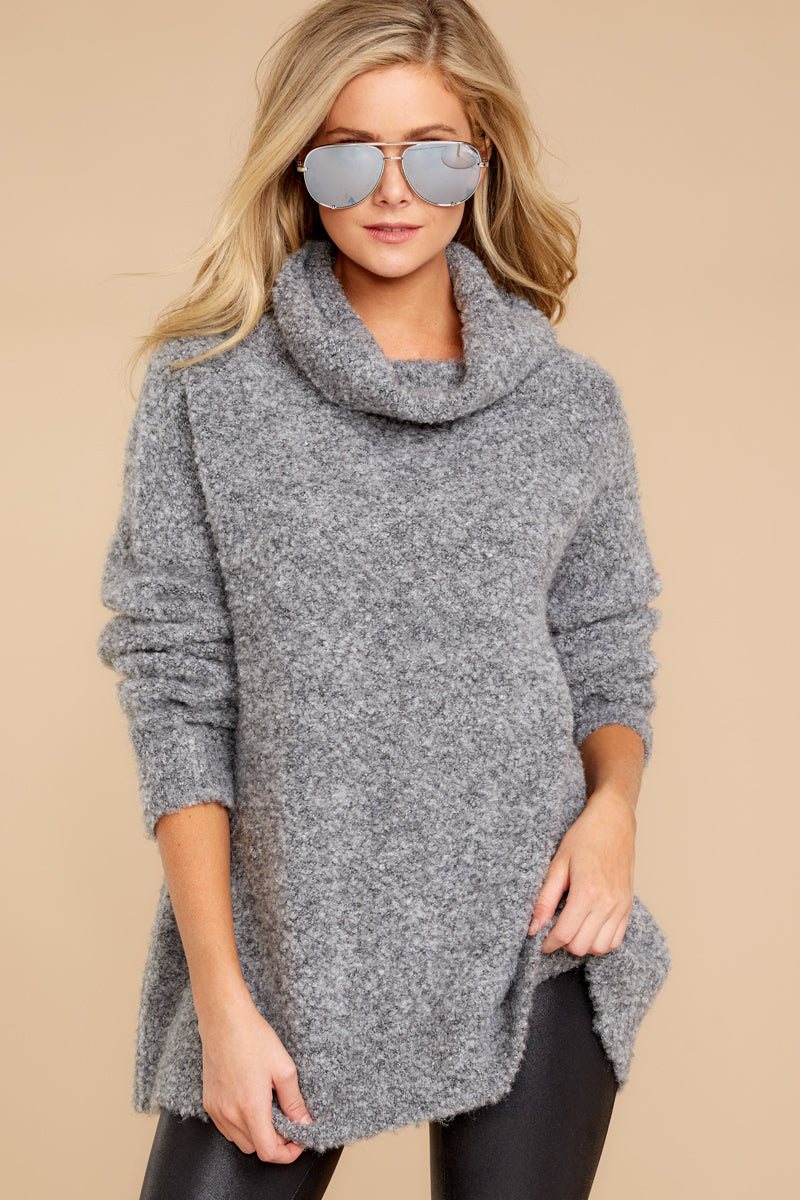 2 Warming Up To The Idea Grey Turtleneck Sweater at reddressboutique.com