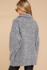 7 Warming Up To The Idea Grey Turtleneck Sweater at reddressboutique.com