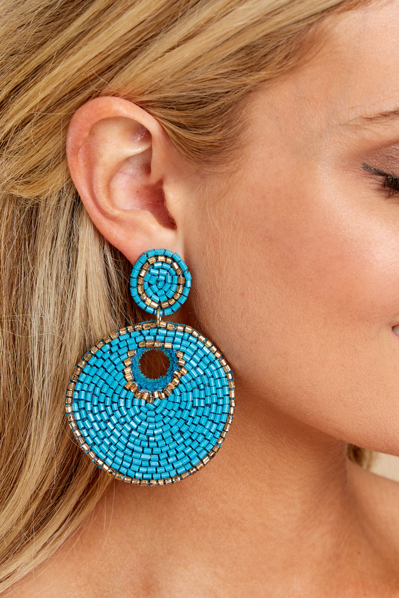 1 Simply Find It Turquoise Statement Earrings at reddressboutique.com