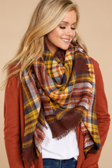 2 Chilled For The Day Maroon Brown Plaid Scarf at reddressboutique.com