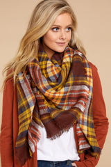 1 Chilled For The Day Maroon Brown Plaid Scarf at reddressboutique.com