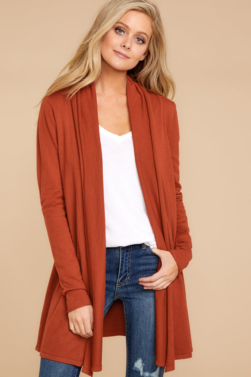 Darling Orange Flowy Cardigan