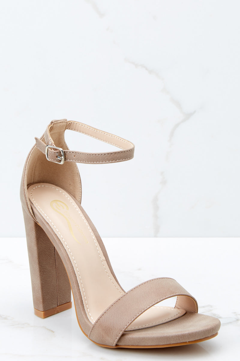Chic Beige Faux Leather Heels - Trendy Ankle Strap Heels - Heels ...