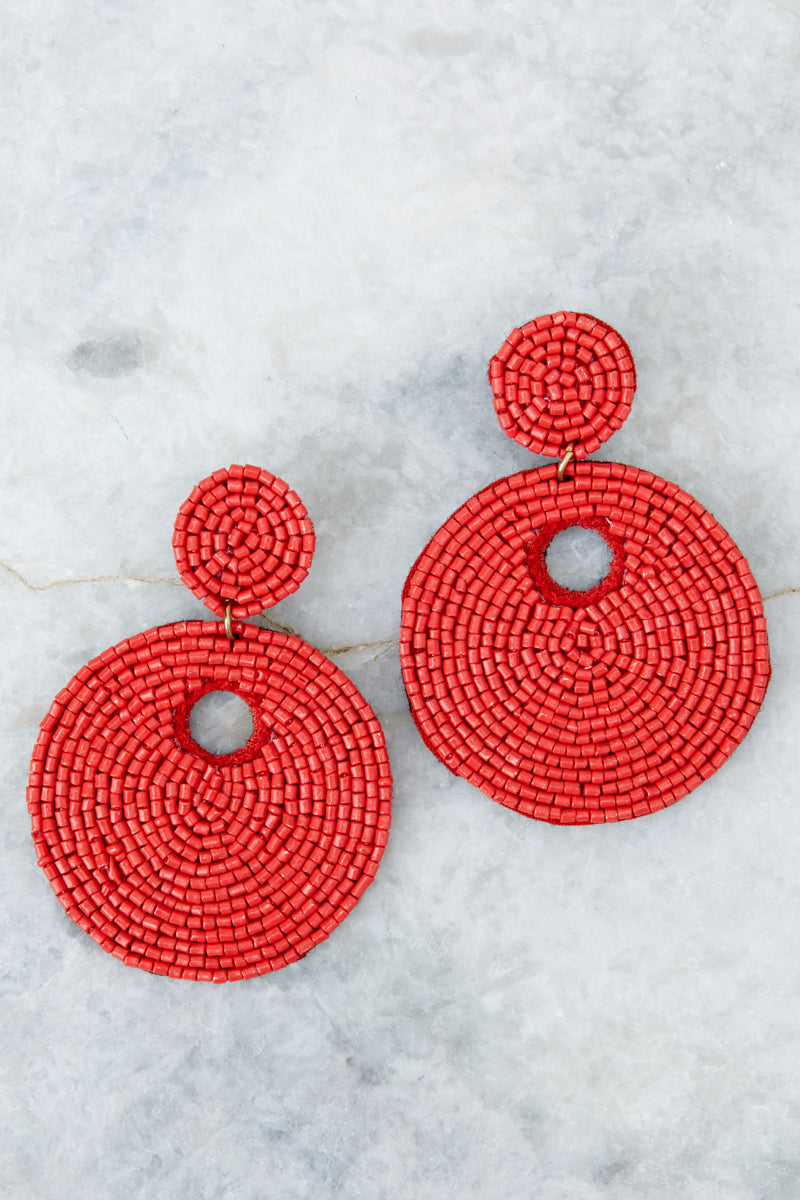 2 Keep It Interesting Red Beaded Earrings at reddressboutique.com