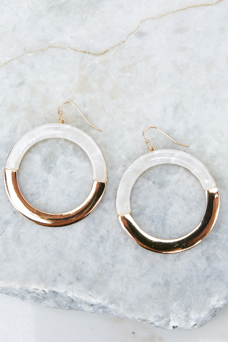 Better Than Expected Gold And Ivory Acrylic Earrings