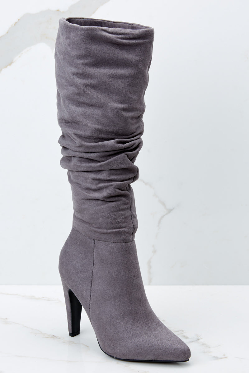 b365f36c8234 Sleek Grey High Heel Boots - Faux Suede Mid Calf Boots - Shoes -  44 ...