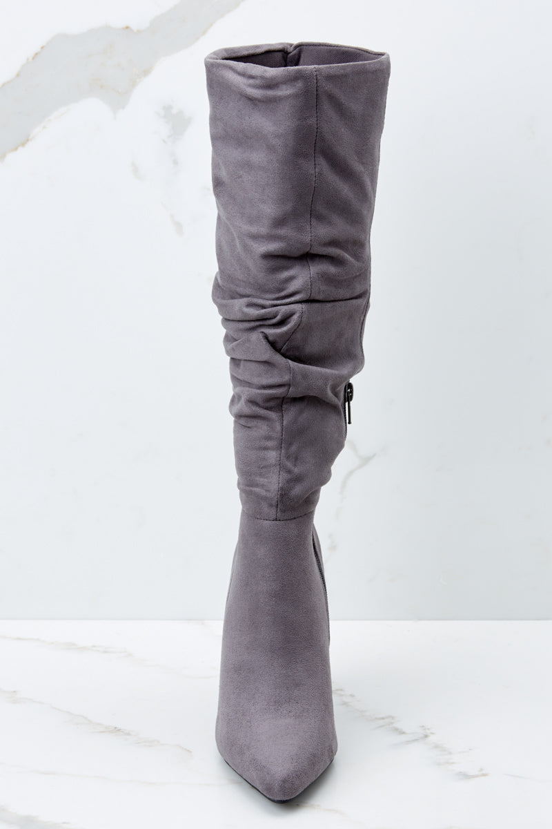 2 Step Out For The Night Grey High Heel Boots at reddressboutique.com