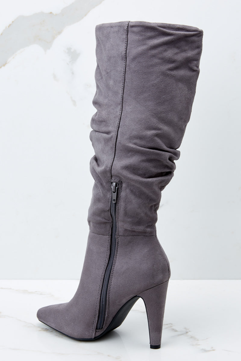3 Step Out For The Night Grey High Heel Boots at reddressboutique.com