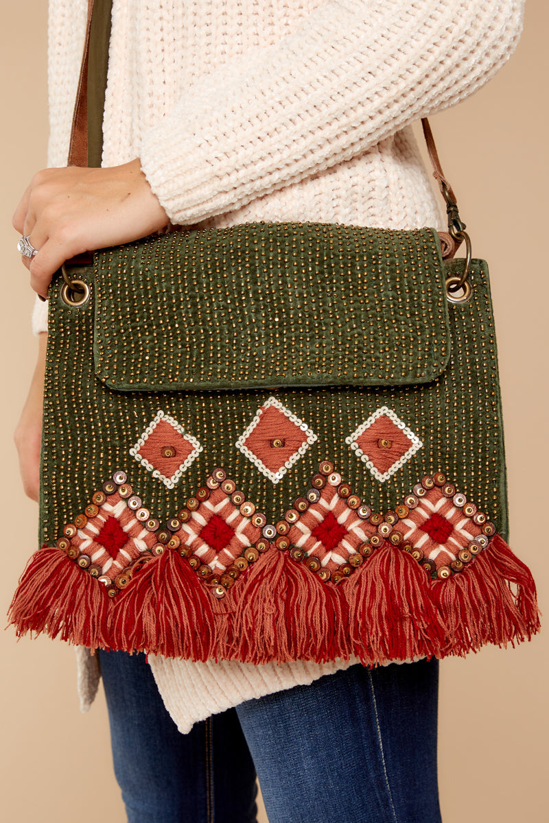 Most Ideal Olive Embellished Crossbody Purse Green (1428590592096 B-AAB-E6-BC161) photo