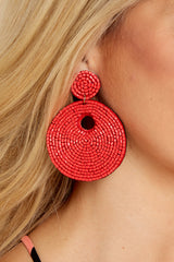 1 Keep It Interesting Red Beaded Earrings at reddressboutique.com