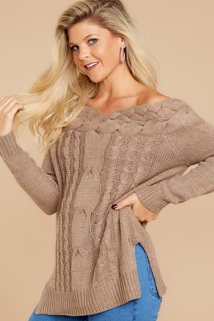 Cozy Content Tan Turtleneck Chenille Sweater