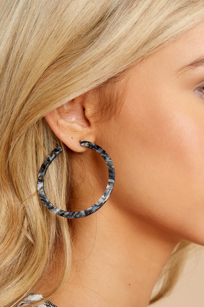 1 Maybe Possibly Black Hoop Earrings at reddressboutique.com