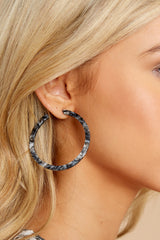 Nothing Like It Black Tortoise Hoop Acrylic Earrings