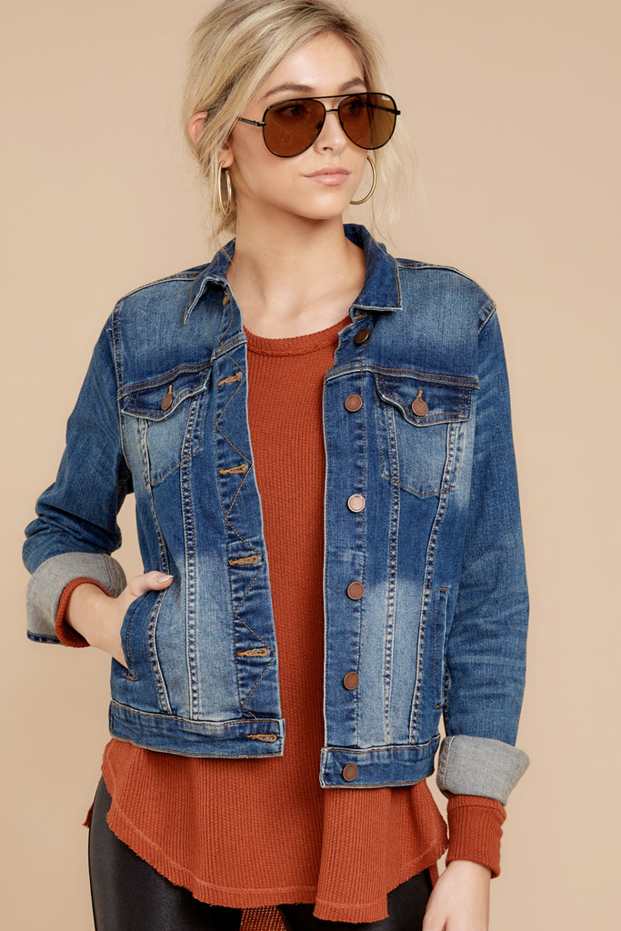 6 Marina Jacket In Medium Wash at reddressboutique.com