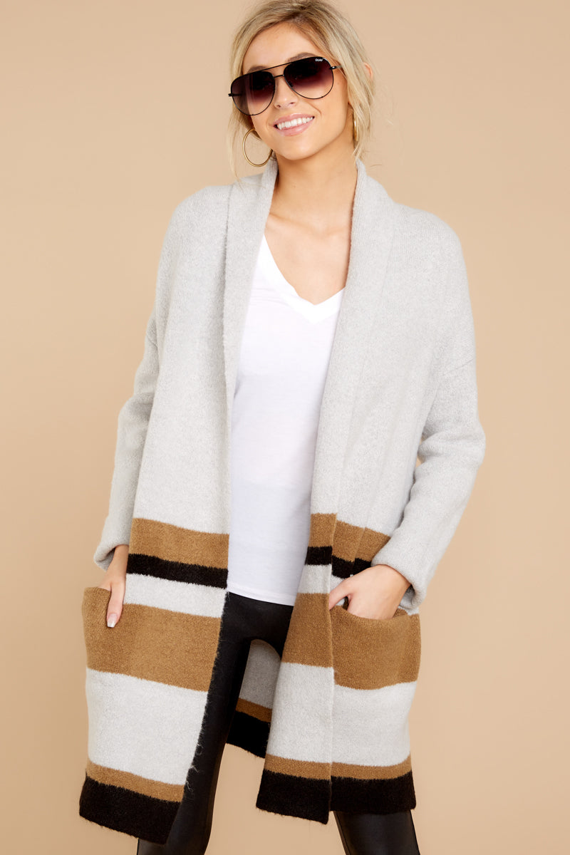 681f5936 Certain About This Grey Multi Stripe Cardigan