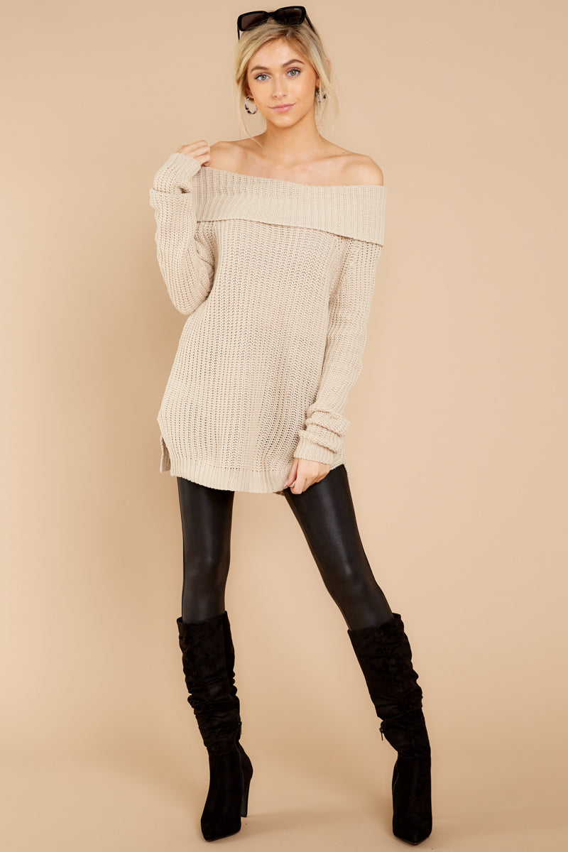 2 Meet In Manhattan Beige Off The Shoulder Sweater at reddressboutique.com