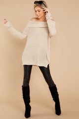 3 Meet In Manhattan Beige Off The Shoulder Sweater at reddressboutique.com