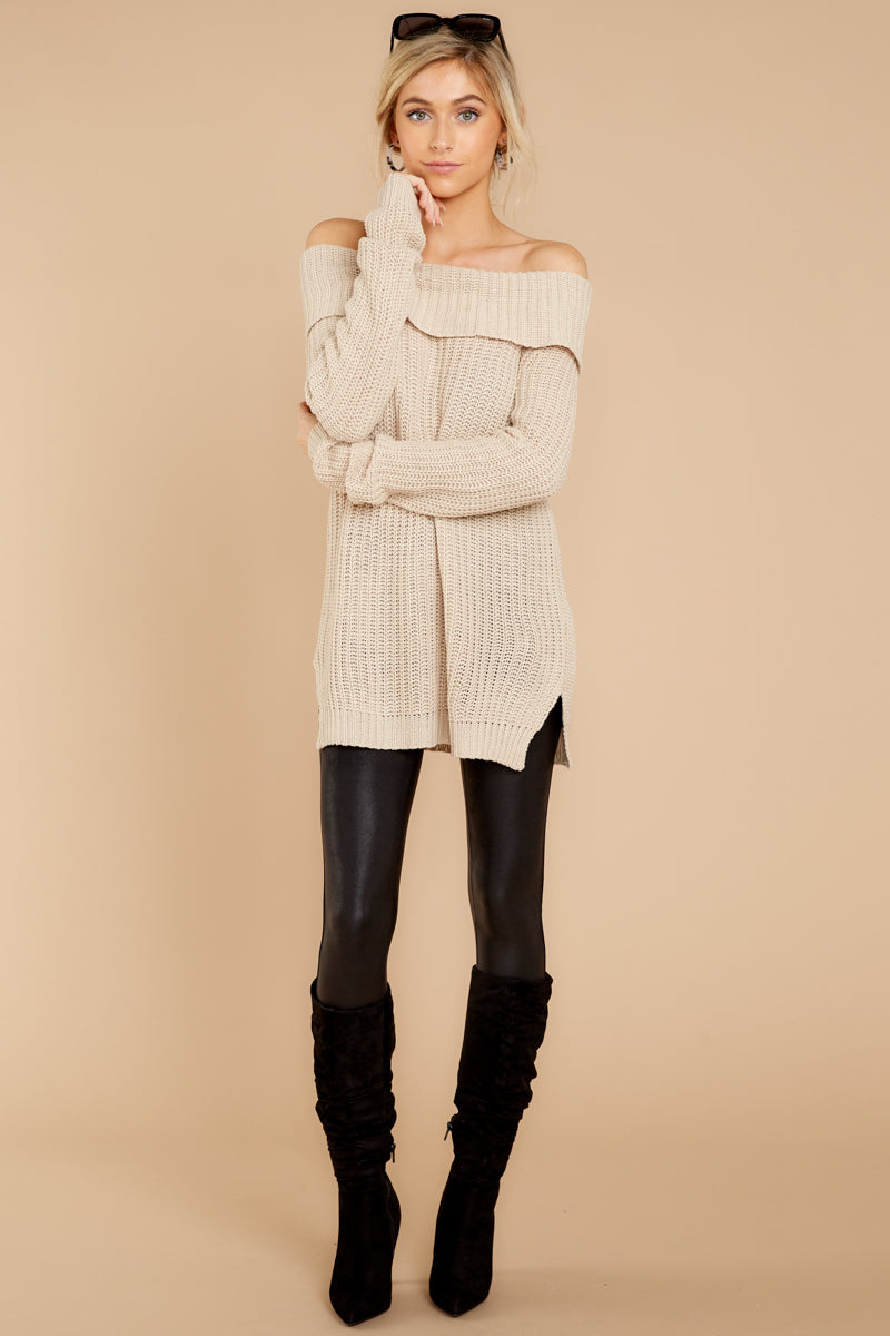 4 Meet In Manhattan Beige Off The Shoulder Sweater at reddressboutique.com