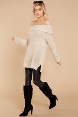 1 Meet In Manhattan Beige Off The Shoulder Sweater at reddressboutique.com