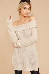 5 Meet In Manhattan Beige Off The Shoulder Sweater at reddressboutique.com