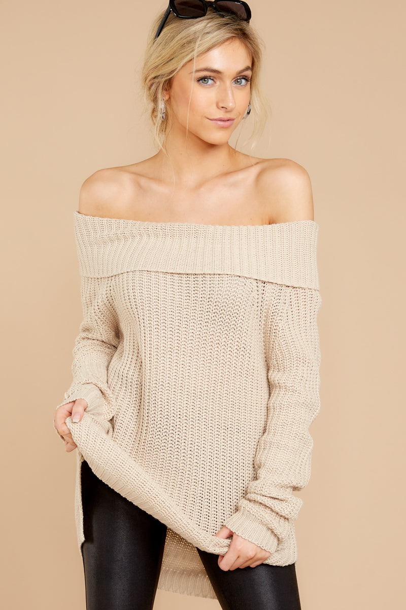 db67c904a3 Flirty Beige Off The Shoulder Sweater - Oversized Sweater - Top ...
