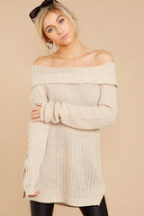 7 Meet In Manhattan Beige Off The Shoulder Sweater at reddressboutique.com