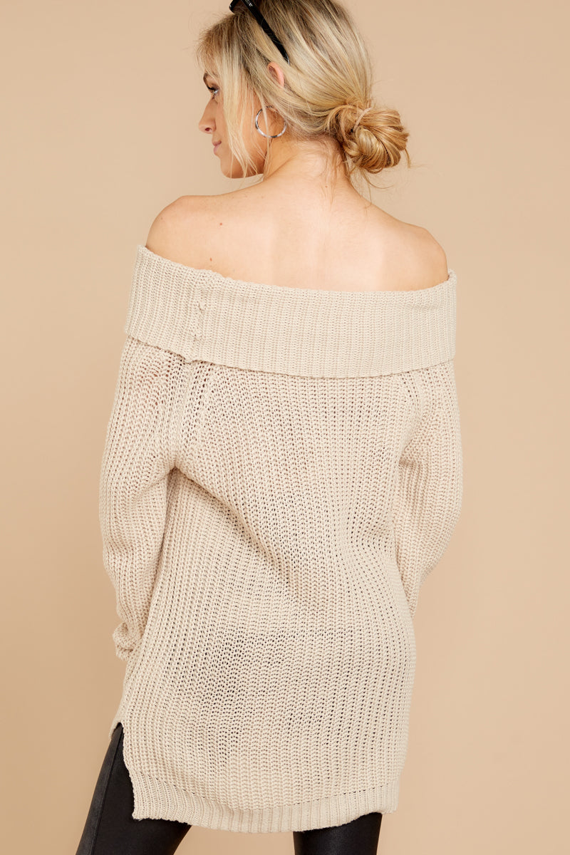 8 Meet In Manhattan Beige Off The Shoulder Sweater at reddressboutique.com