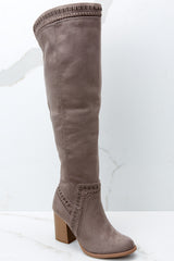 1 Slaying Everyday Taupe Knee High Boots at reddressboutique.com