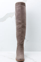 2 Slaying Everyday Taupe Knee High Boots at reddressboutique.com