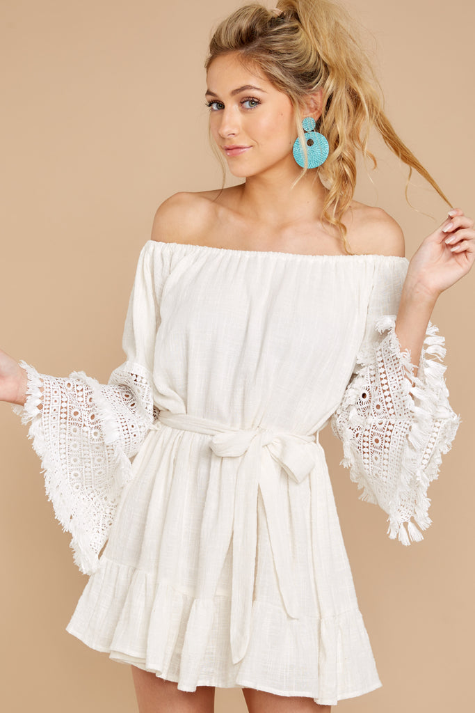 1 Zig To My Zag White Off The Shoulder Dress at reddressboutique.com