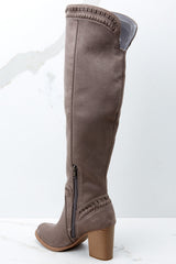 3 Slaying Everyday Taupe Knee High Boots at reddressboutique.com