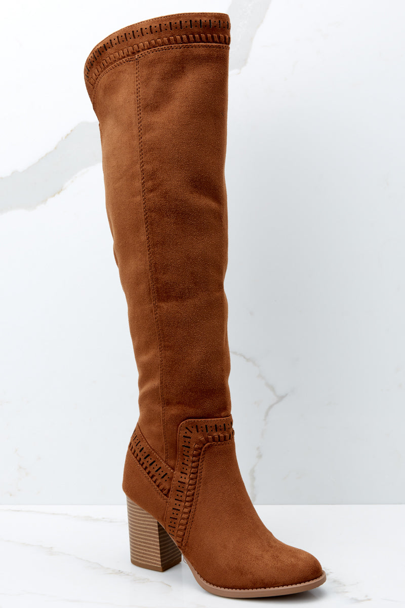 b9e7ac916e4 Lovely Brown Suede Knee High Boots - Vegan Leather Boots - Shoes ...