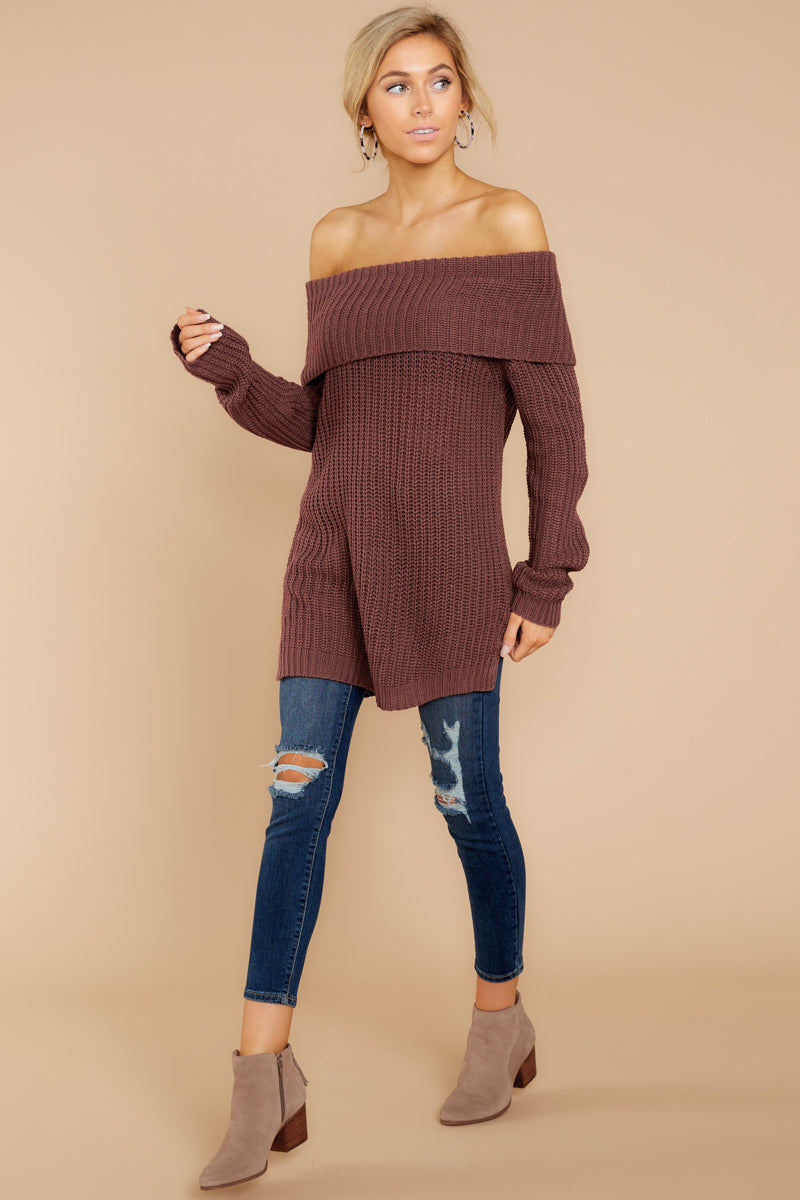 c9d9a5f3b17f Chic Dark Red Off The Shoulder Sweater - Cozy Knit Sweater - Top ...